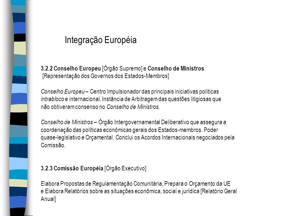 Integração Européia 3.2.2 Conselho Europeu [Órgão Supremo] e Conselho de Ministros. [Representação dos Governos dos Estados-Membros]